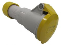 16A, 110V, Cable Mount CEE Socket, 2P+E, Yellow, IP44